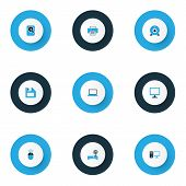 Hardware Icons Colored Set With Laptop, Hard Disk, Pc And Other Notebook   Elements. Isolated Vector poster