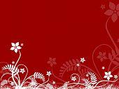 Floral Design On Red Background