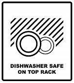 Dishwasher Safe On Top Rack Symbol Isolated. Dishwasher Safe Sign Isolated,  Illustration. Symbol Fo poster