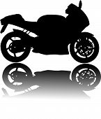 Silhouette of black motorcycle vector