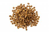 Dog Dry Food Heap Isolated On White Background poster