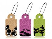 vector set of halloween concept tag with bat, skulls and cat background