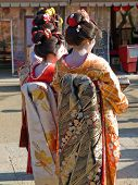Three Geisha In Kyoto