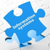 Information Concept: Information Systems On Blue Puzzle Pieces Background, 3d Rendering poster
