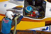 ESTORIL - SETEMBRO. 25: O FLM Oreca 09 da Pegasus Racing, pára nos boxes para reabastecimento