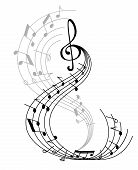 Music Note Poster Of Musical Symbol On Curved Staff With Treble Clef And Key Signatures. Classical M poster