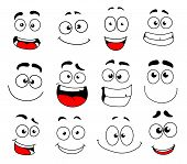 Human Face Emotion Cartoon Icon Set. Emoticon, Smiley And Emoji Character With Happy, Funny And Chee poster