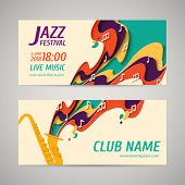 International Jazz Day - Music Paper Cut Style Banners Set For Jazz Festival Or Night Blues Retro Pa poster