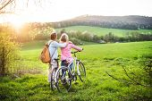 Beautiful Senior Couple Outside In Spring Nature, Standing With Bicycles On Grassland. Rear View. poster