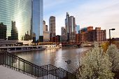 Chicago River And City Skyline, Chicago, Illinois, Usa poster