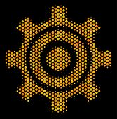 Halftone Hexagon Cogwheel Icon. Bright Golden Pictogram With Honey Comb Geometric Structure On A Bla poster
