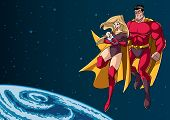 Full Length Illustration Of Happy Super Mom And Super Dad With Super Baby, Flying In The Outer Space poster