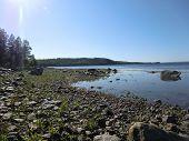 Stone beach of island in the White sea