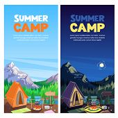 Summer Camping In Mountains Valley, Vector Banner, Poster Design Template. Adventures, Travel And Ec poster
