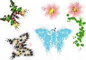 illustration with painted butterflies and flowers on white background