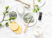 Dead Sea Mud Mask - Beauty Products Ingredients On Light Background, Top View. Beauty Concept. Flat  poster