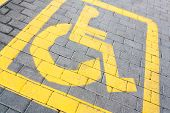 Handicapped Parking Sign, Tilted View