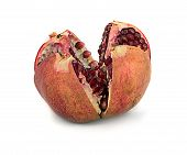 Beautiful, Juicy, Ripe Pomegranate On White Background, Juicy And Bright Garnet Without Background,  poster