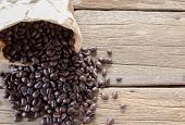 Top View With Roasted Coffee Beans In Paper Bag On Wood Table Background Area For Copy Space. Coffee poster