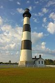 Bodie Island Lighthouse, Blue Sky And White Clouds Vertical