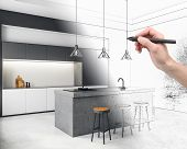 Hand Drawing Creative Kitchen Interior. Architecture And Design Concept. 3d Rendering poster