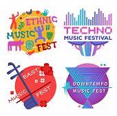 Music Festivals Emblem Set, Invitation For Event. Jazz Fest, Pop, Blues, Ethnic, Chanson, Trance, Do poster