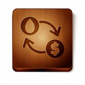 Brown Oil Exchange, Water Transfer, Convert Icon Isolated On White Background. Wooden Square Button. poster