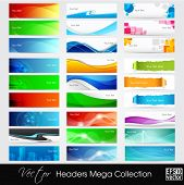 Colorful shiny banners or website headers with abstract wave and circle concept.EPS 10. Vector illustration.