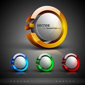 Abstract 3D glossy icon sets in yellow, blue, green or red color with grey color combination, isolat