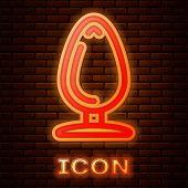 Glowing Neon Anal Plug Icon Isolated On Brick Wall Background. Butt Plug Sign. Fetish Accessory. Sex poster