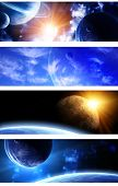 Set of space banners. A beautiful space scene with planets and nebula