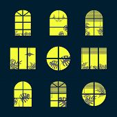 Collection Of Windows Silhouette Of Various Designs Isolated. Windows Light City At Night. Vector Il poster
