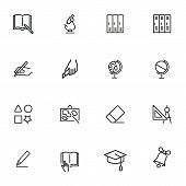 School Line Icon Set. Microscope, Globe, Cabins. Education Concept. Can Be Used For Topics Like Biol poster