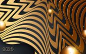 Black Paper Cut Background. Abstract Realistic Papercut Decoration With Wavy Edges And Gradient. Gol poster