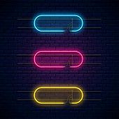 Glowing Neon Vector Frames. Neon Light Banners Set. Realistic Glow Signboard. Vector Illustration. G poster