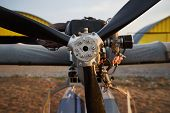 Air Propeller Of The Ultralight Aircraft Standing On Airfield, Close-up. poster