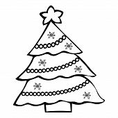 Christmas Tree. Garland And Snowflake Decorations. Colorless Background. Coloring Book For Children. poster