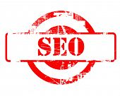 SEO, search engine optimization red stamp with copy space isolated on white background.