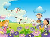 Illustration of musical kids