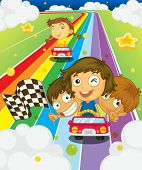 Illustration of kids racing on a rainbow