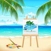illustration of painting of sea beach on easel