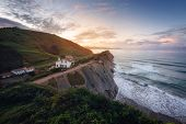 Coast Landscape Of Famous Flysch In Zumaia At Sunset, Basque Country, Spain. Famous Geological Forma poster