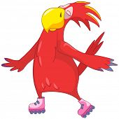 Cartoon Character Funny Parrot Isolated on White Background. Roller. Vector EPS 10.