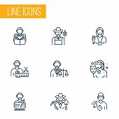 Occupation Icons Line Style Set With Lawyer, Interview, Trainer And Other Archaeologist Woman Elemen poster