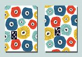 Cover With Graphic Abstract Flowers. Two Modern Vector Flyers In Avant-garde  Style. Geometric Wallp poster