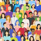 Cartoon Color Characters People Different Nationalities Crowd Or Diverse Social Company Concept Flat poster
