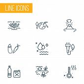 Ecology Icons Line Style Set With Vegetables, Eco Plug, Clean Water And Other Food Elements. Isolate poster