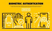 Biometric Authentication Banner. Outline Illustration Of Biometric Authentication Vector Banner For  poster