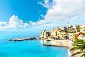 View Of Bogliasco. Bogliasco Is A Ancient Fishing Village In Italy, Genoa, Liguria. Mediterranean Se poster
