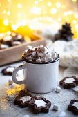 Comforting Christmas Food, Mug Of Hot Cocoa With Marshmallow And Cookies With Cozy Lights poster
